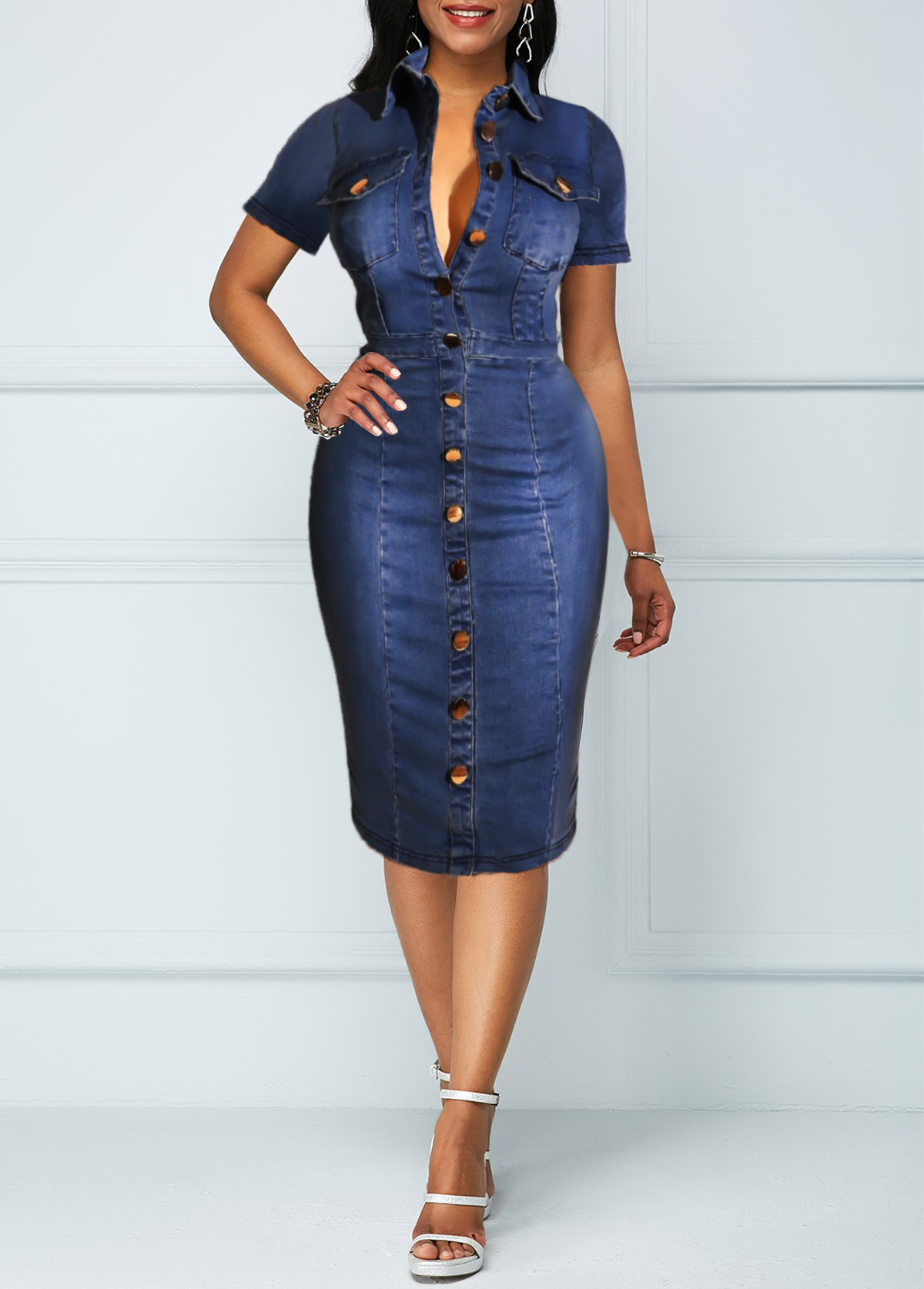 Turndown Collar Chest Pocket Button Up Denim Dress