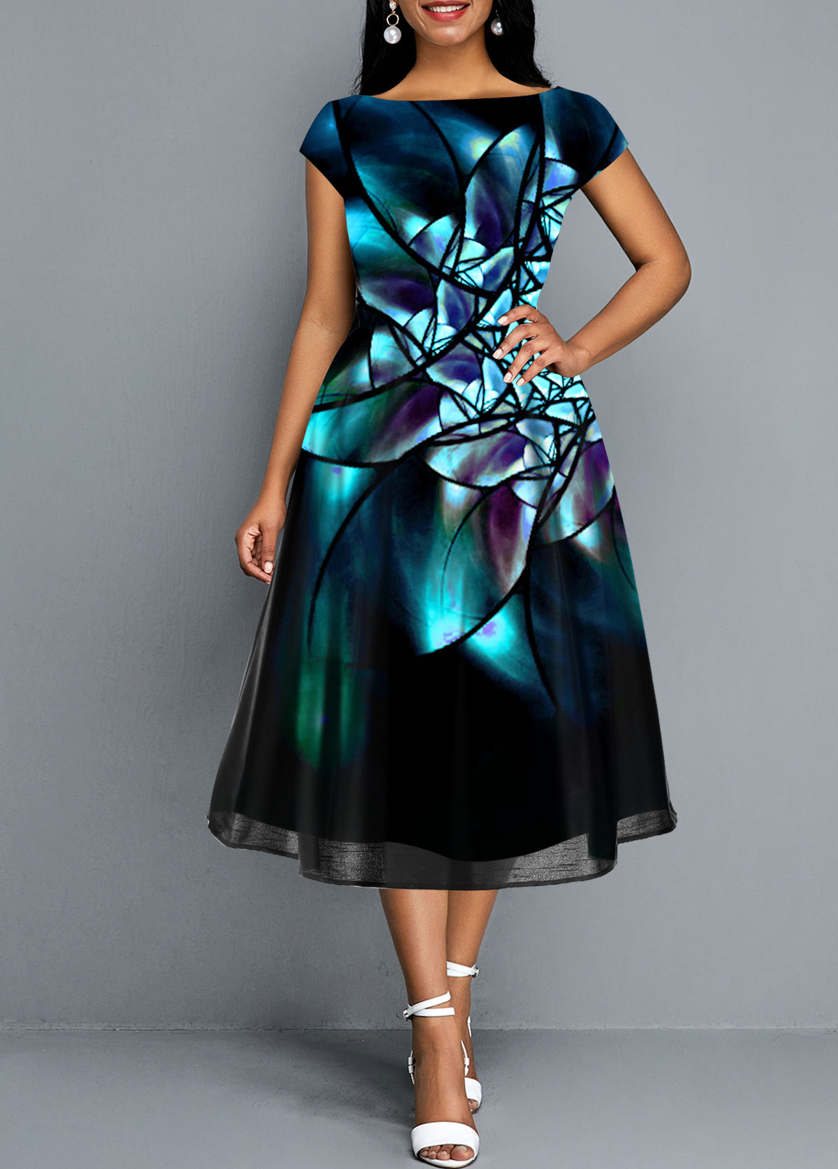 Abstract Print Mesh Panel Short Sleeve Dress