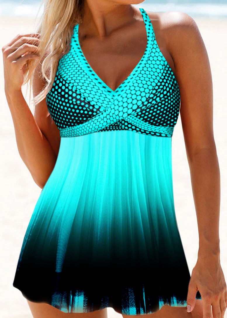 Tie Back Polka Dot Print Swimdress and Panty