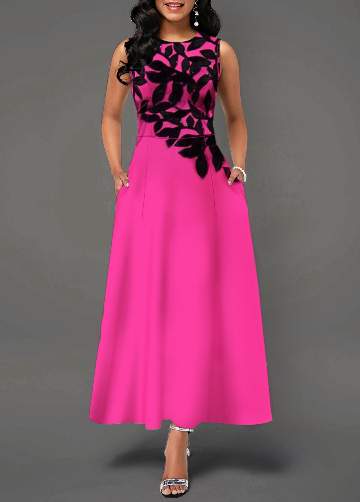 Sleeveless Leaf Print Round Neck High Waist Dress
