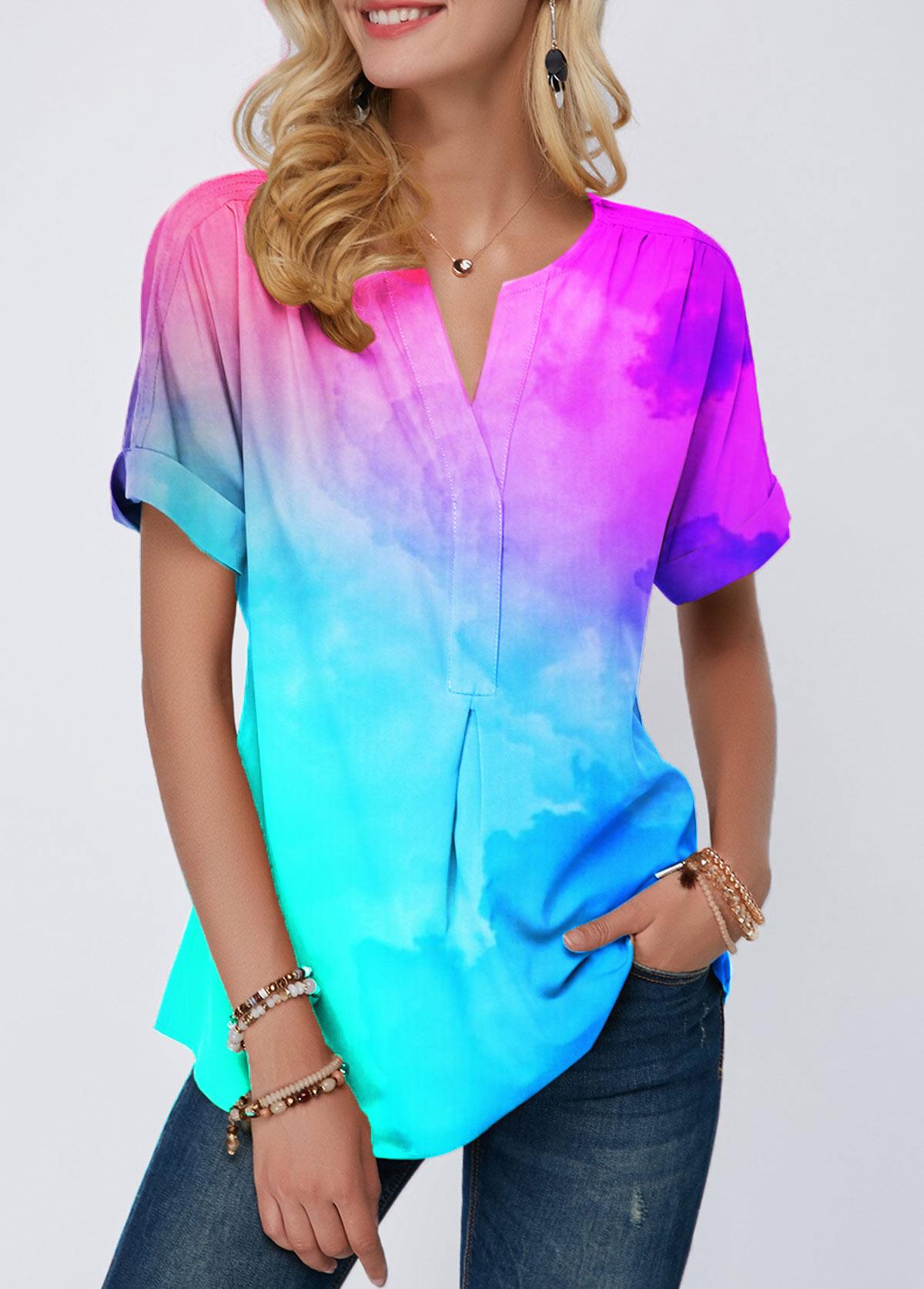 Short Sleeve Dazzle Color Notch Neck Blouse