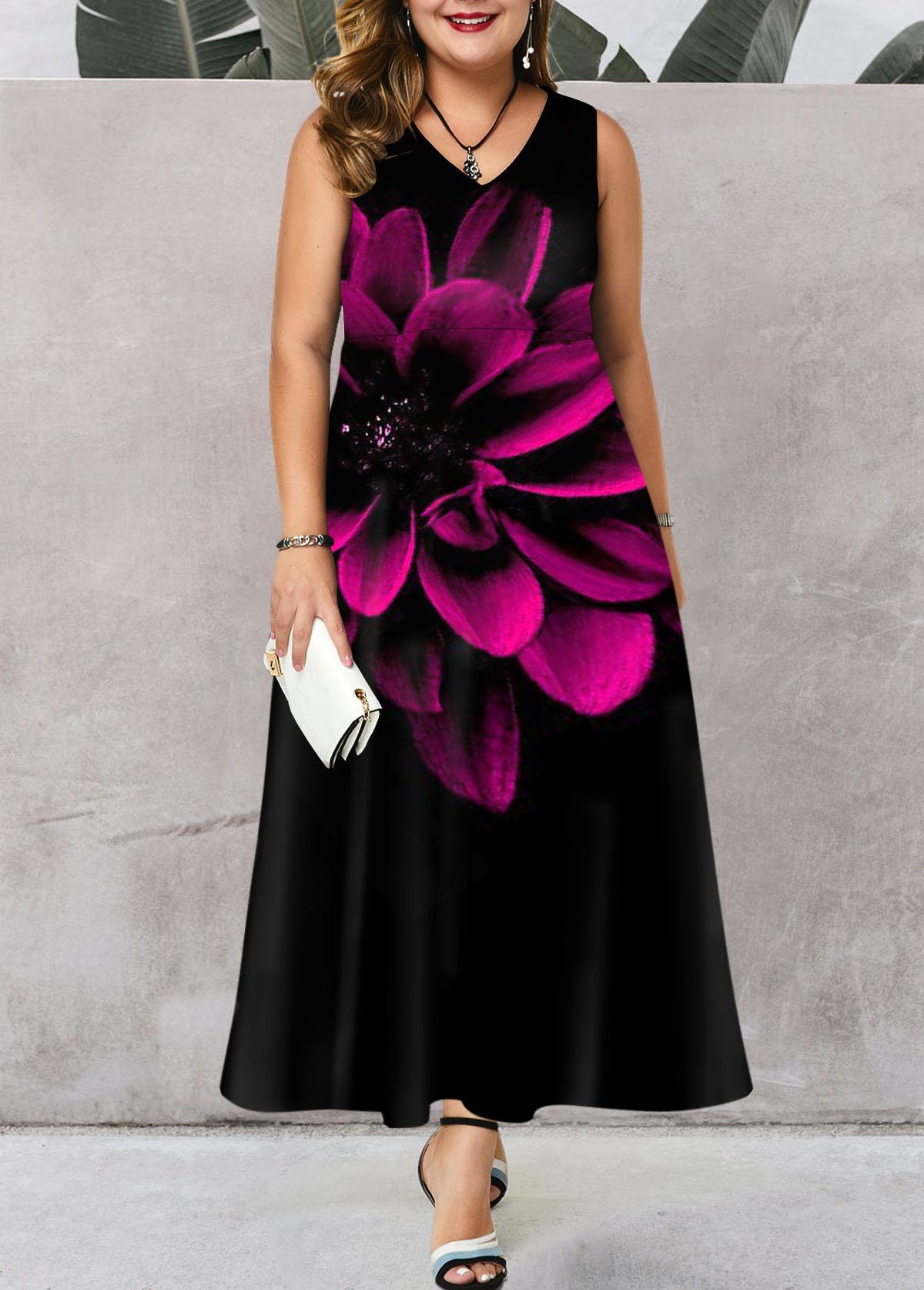 Plus Size Sleeveless V Neck Flower Print Dress