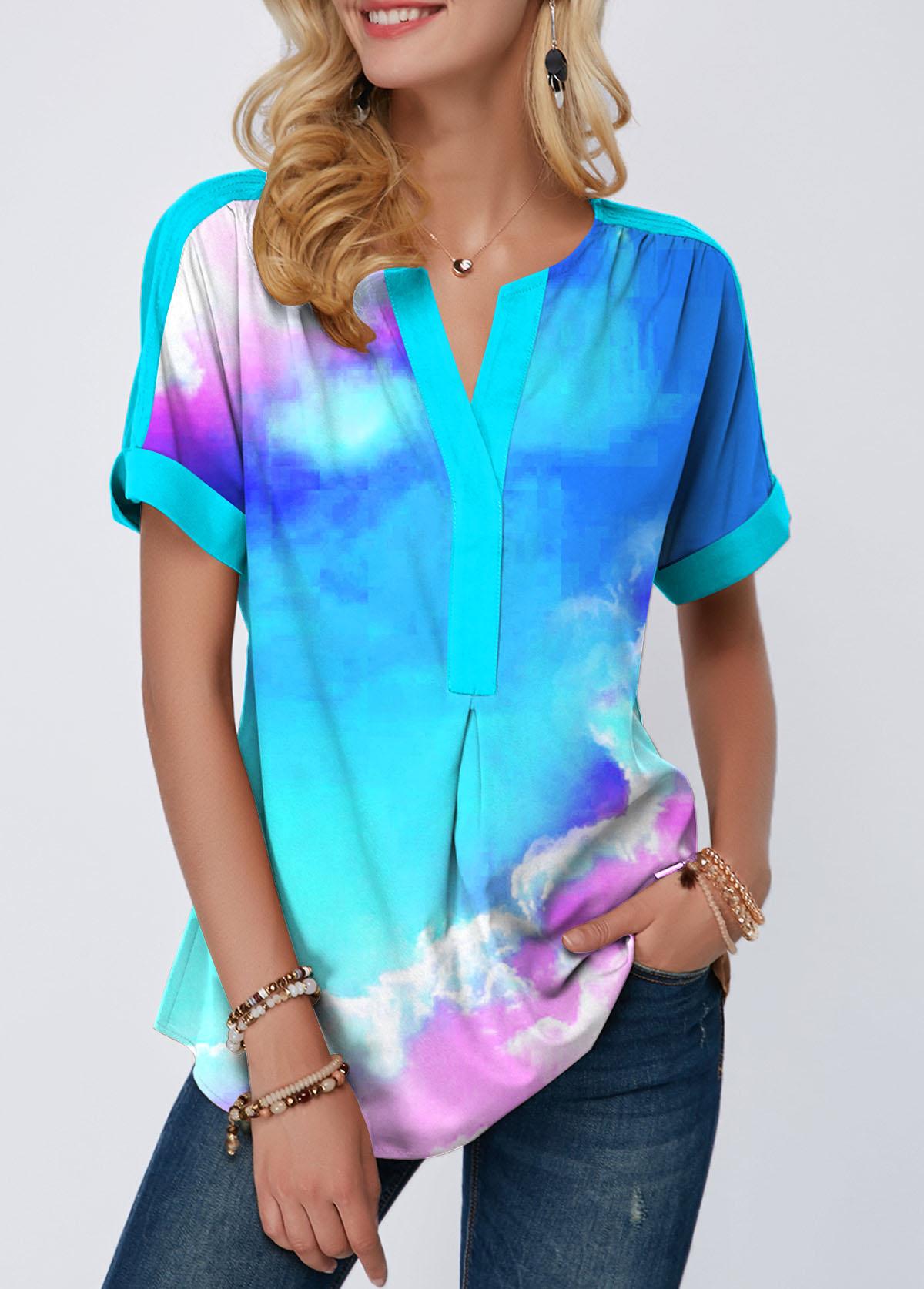 Short Sleeve Dazzle Color Sky Print T Shirt