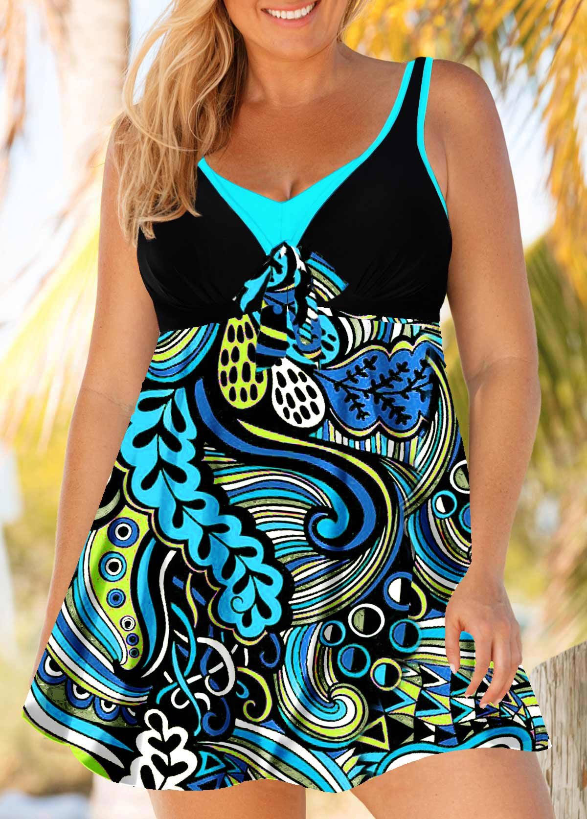 Cutout Back Paisley Print Plus Size Swimdress and Panty