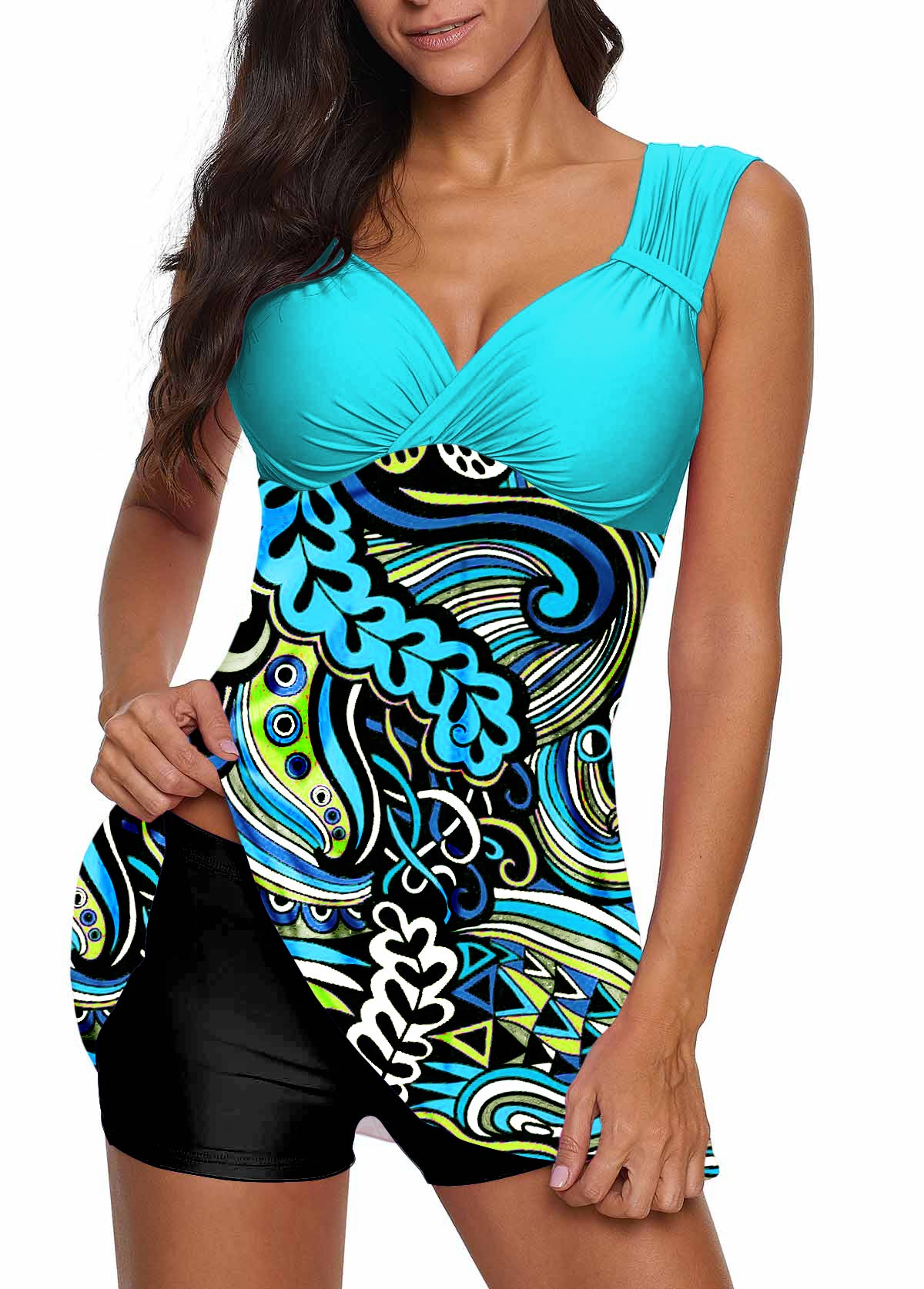 Open Back Paisley Print Swimdress and Shorts