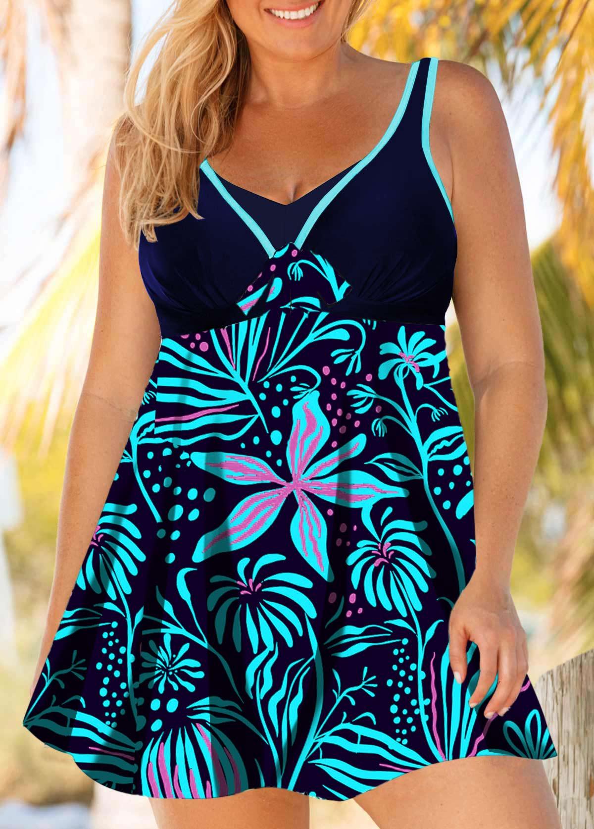 Cutout Back Flower Print Plus Size Swimdress and Shorts