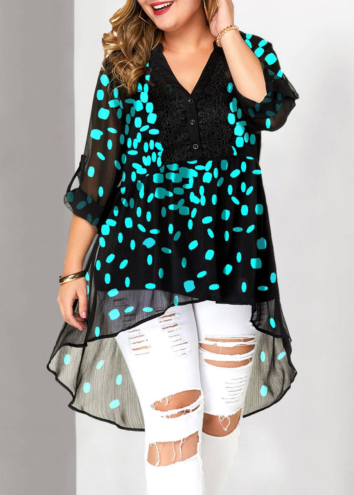 Plus Size Roll Tab Sleeve Split Neck Lace Patchwork Blouse