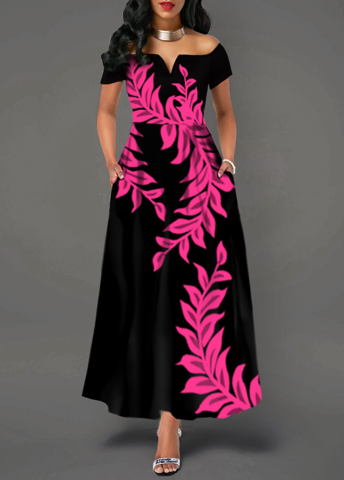 Split Neck Printed Off The Shoulder Dress
