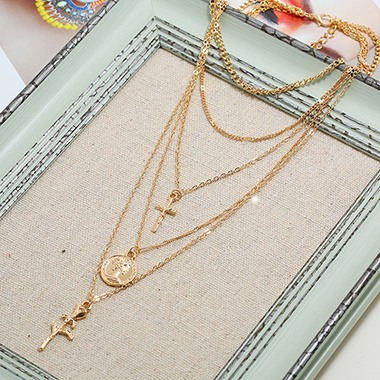 Gold Metal Flower Shape Necklace for Lady