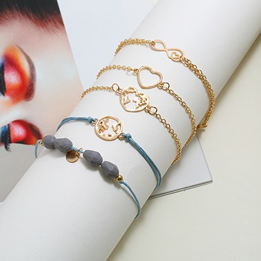 Heart Shape Gold Metal Bracelet Set for Ldy