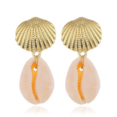Gold Metal Seashell Shape Earring Set for Woman