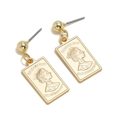 Rectangle Shape Gold Metal Earring Set