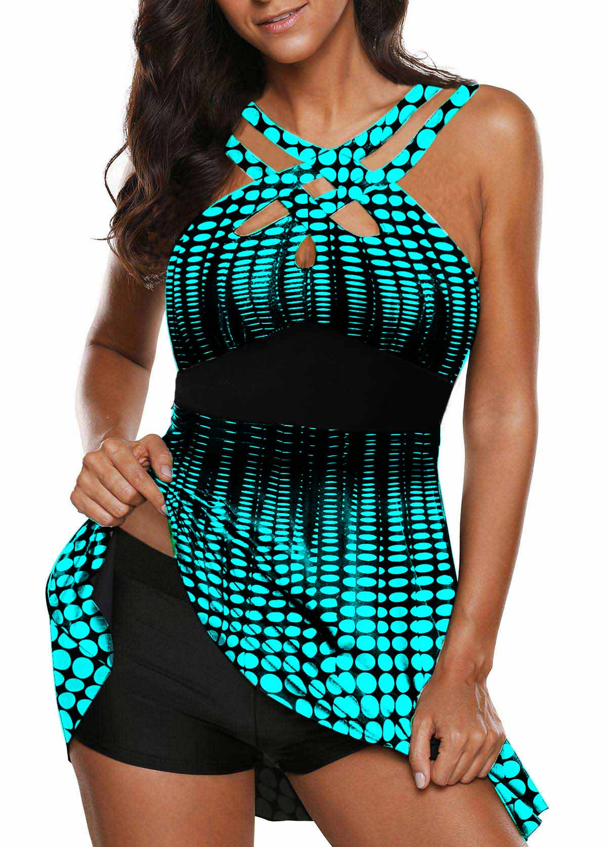 Printed Open Back Cutout Front Swimdress and Shorts