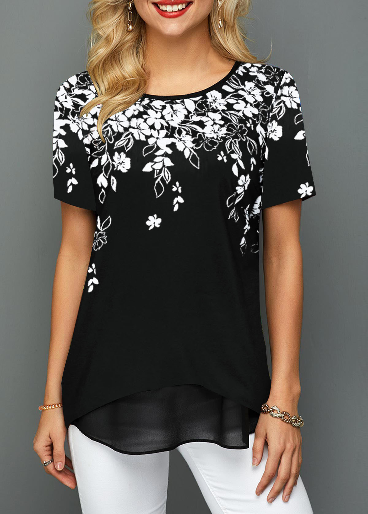 Short Sleeve Round Neck Floral Print T Shirt