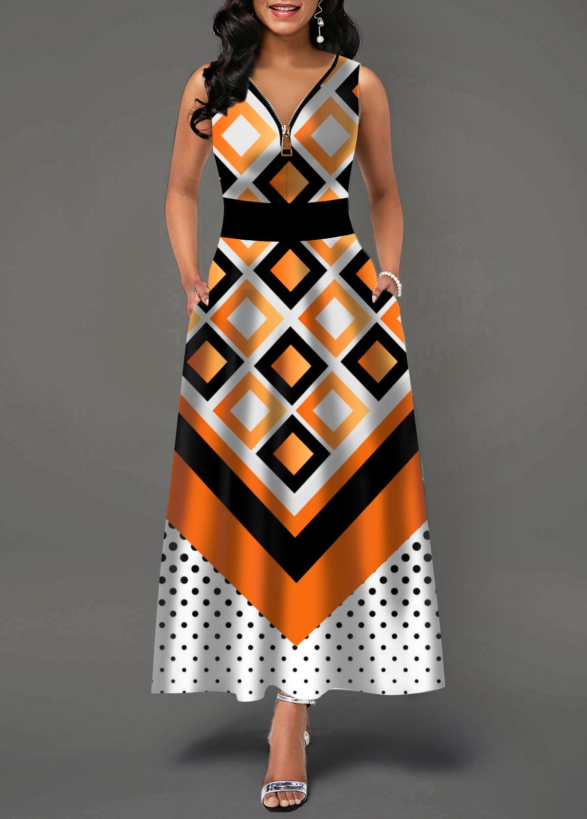Zipper Front Geometric and Dot Print Maxi Dress