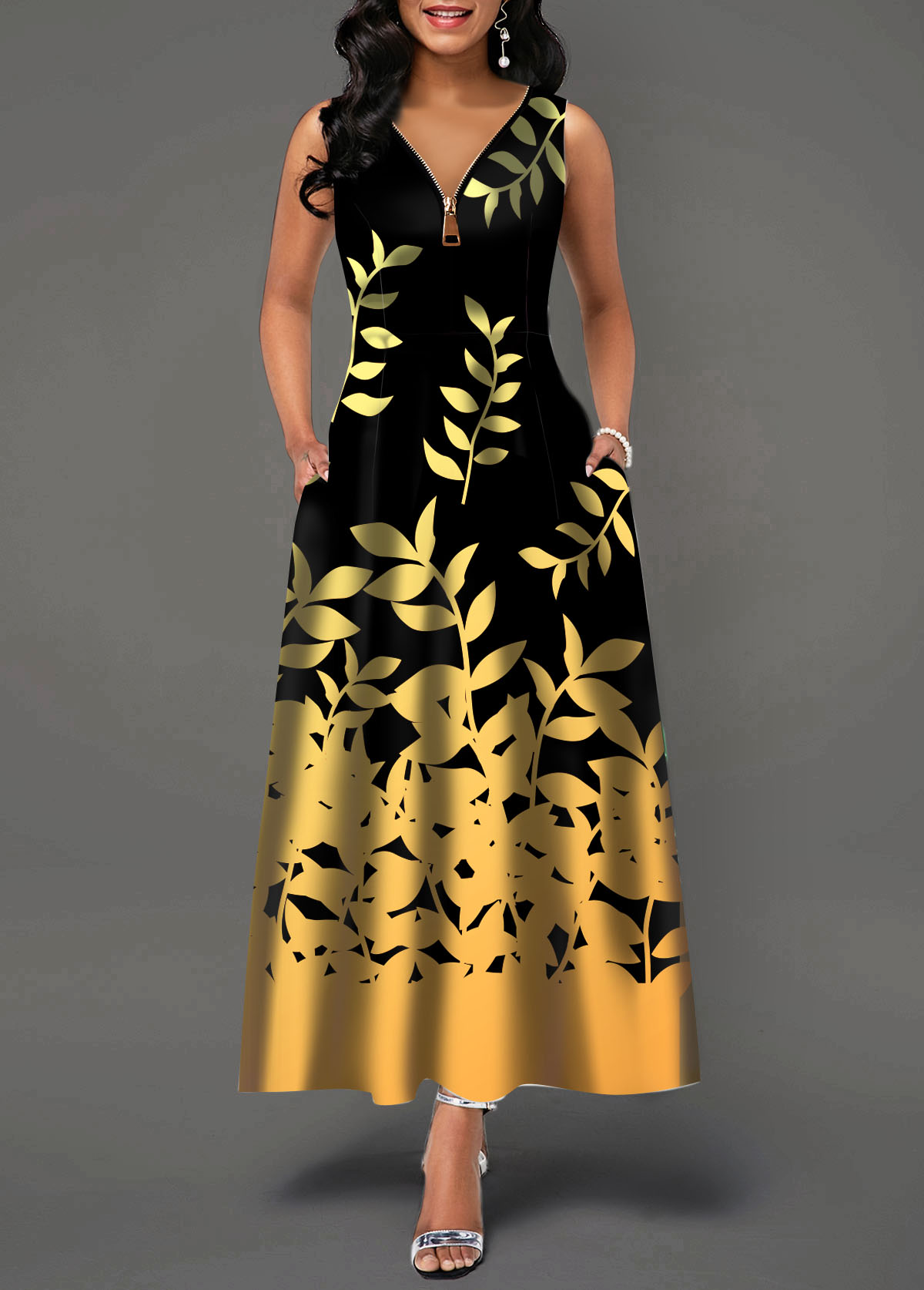 Sleeveless Zipper Front Leaf Print Maxi Dress