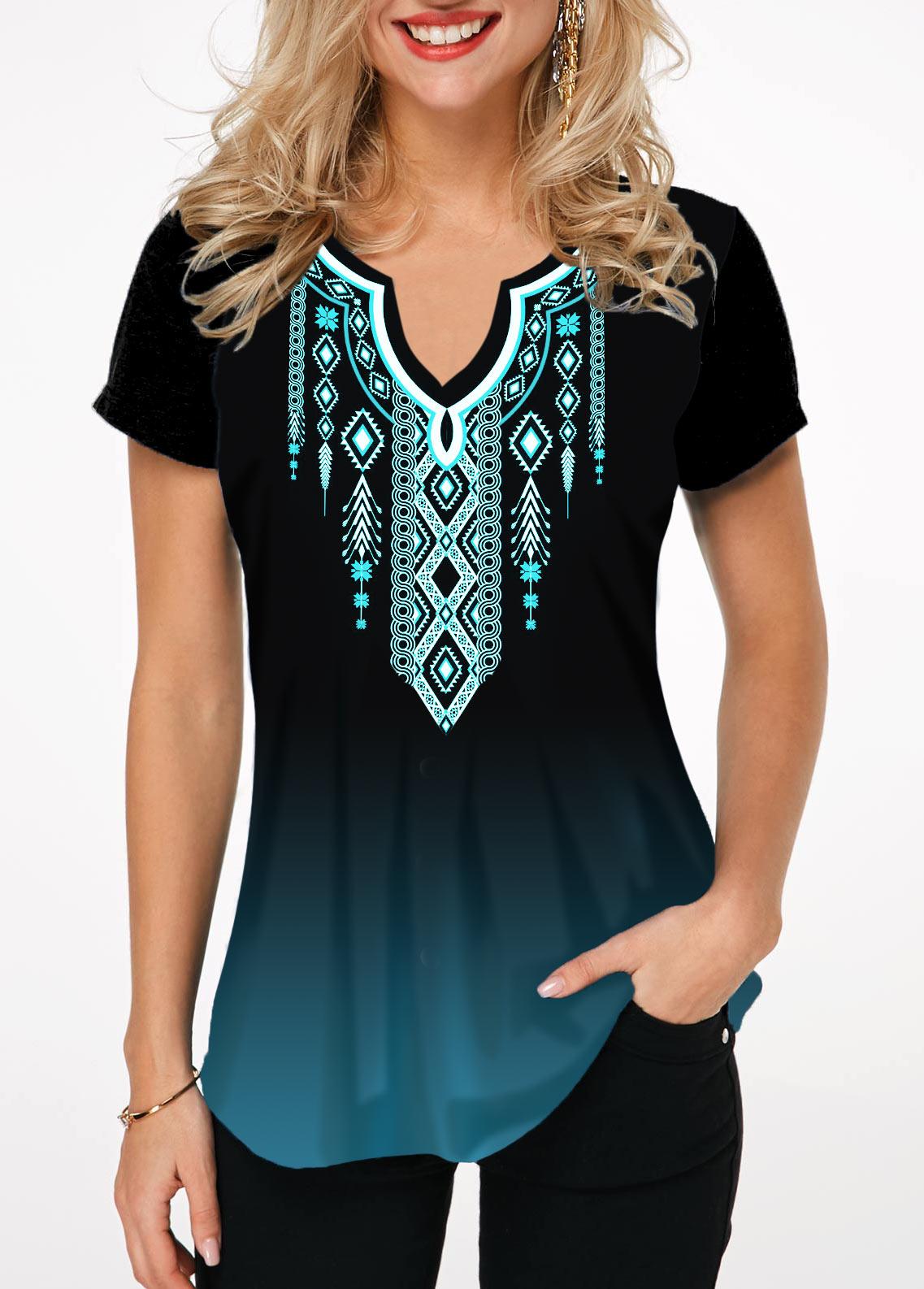 Printed Short Sleeve Split Neck T Shirt