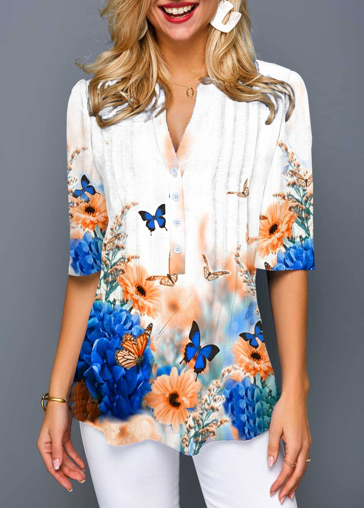 Split Neck Flower and Butterfly Print Blouse