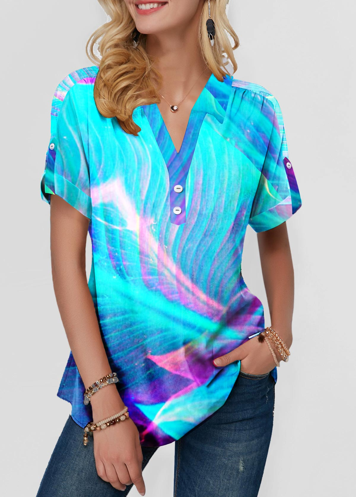 Printed Button Front Short Sleeve Blouse