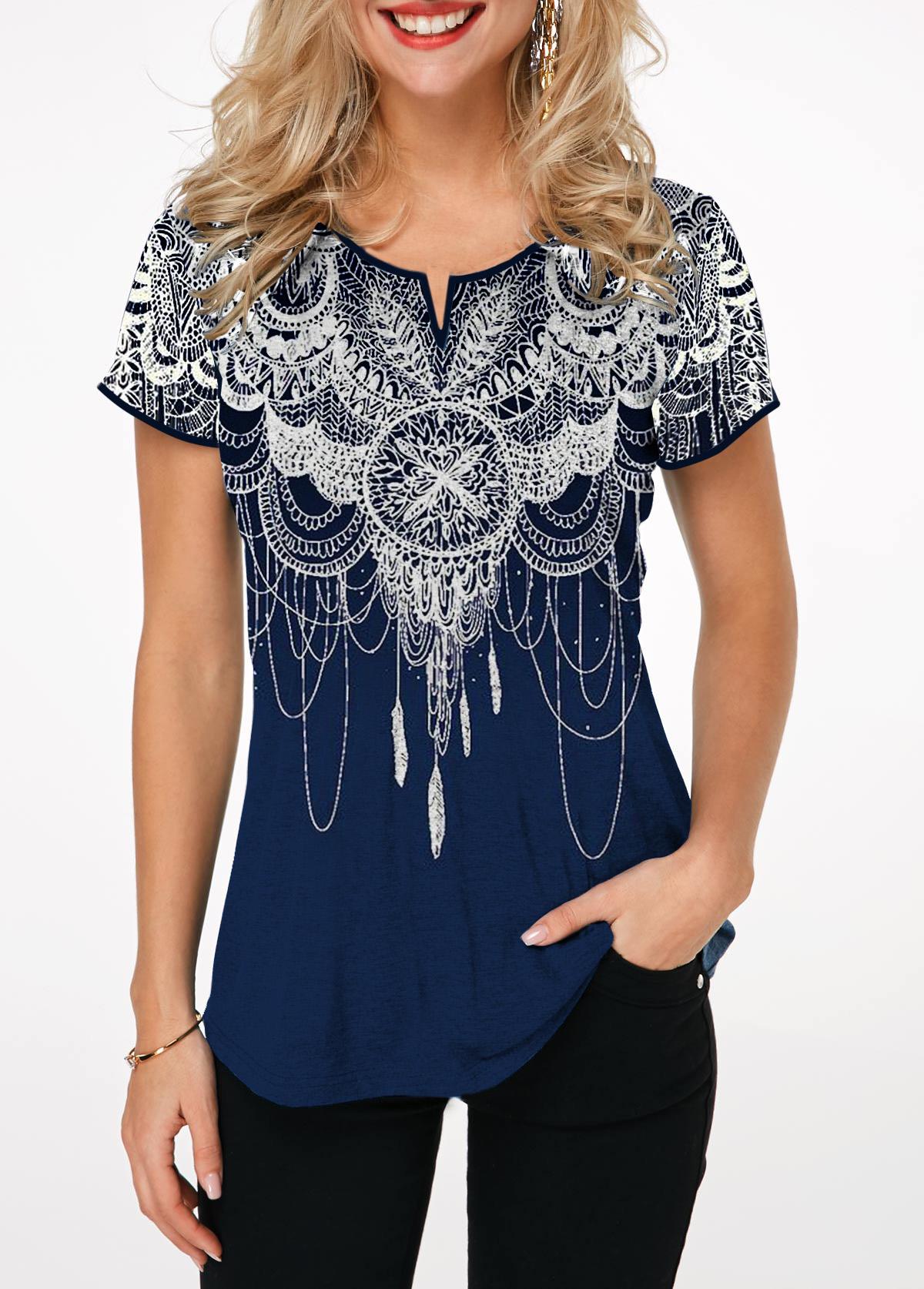 Split Neck Retro Print Short Sleeve T Shirt