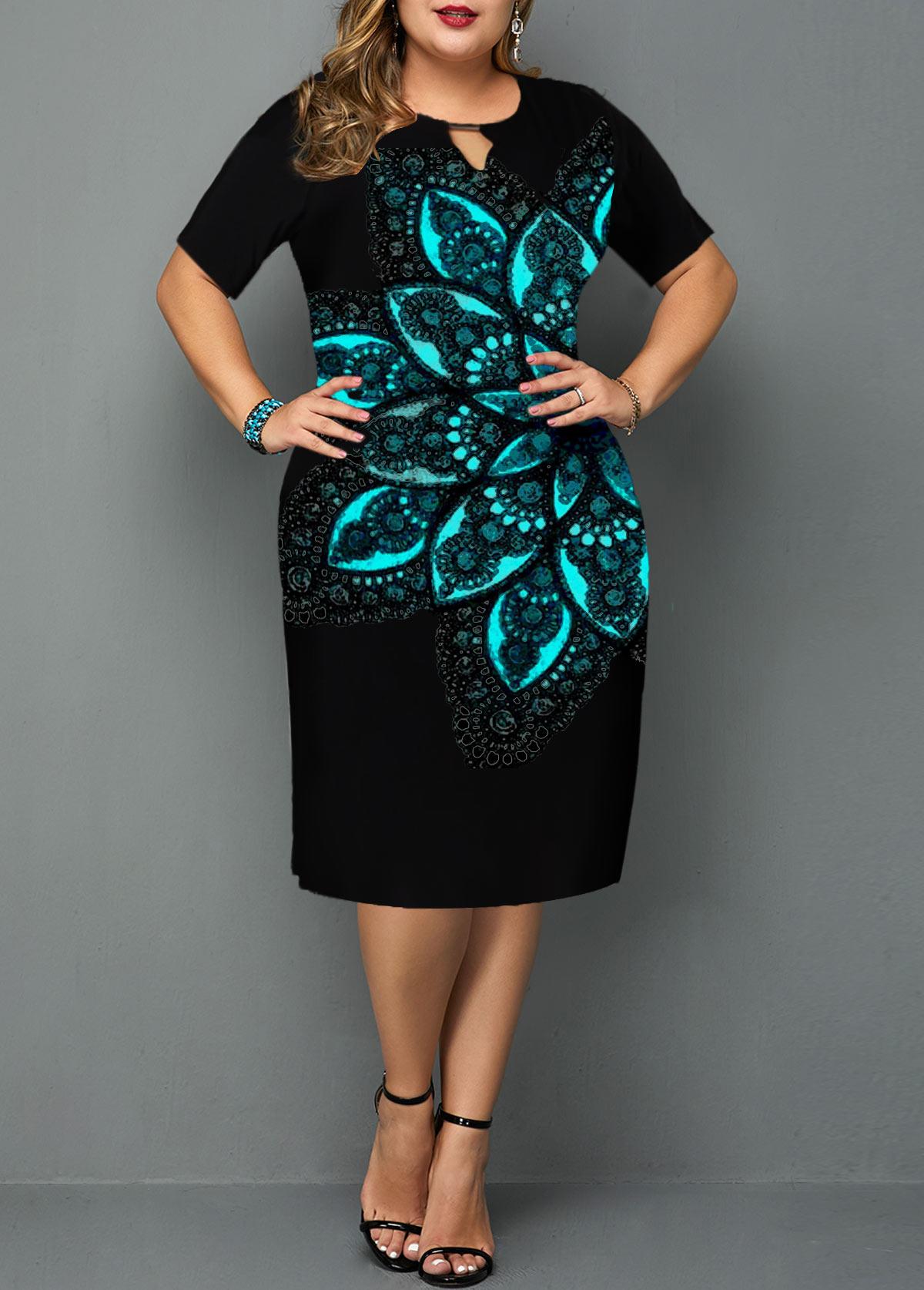 Plus Size Lace Patchwork Short Sleeve Keyhole Neck Dress