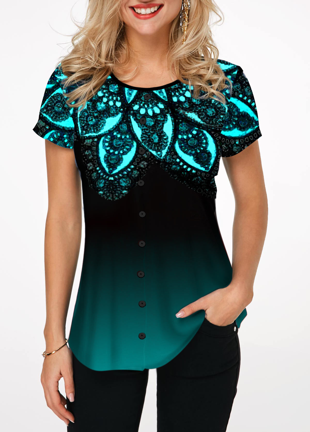 Button Up Short Sleeve Lace Patchwork T Shirt