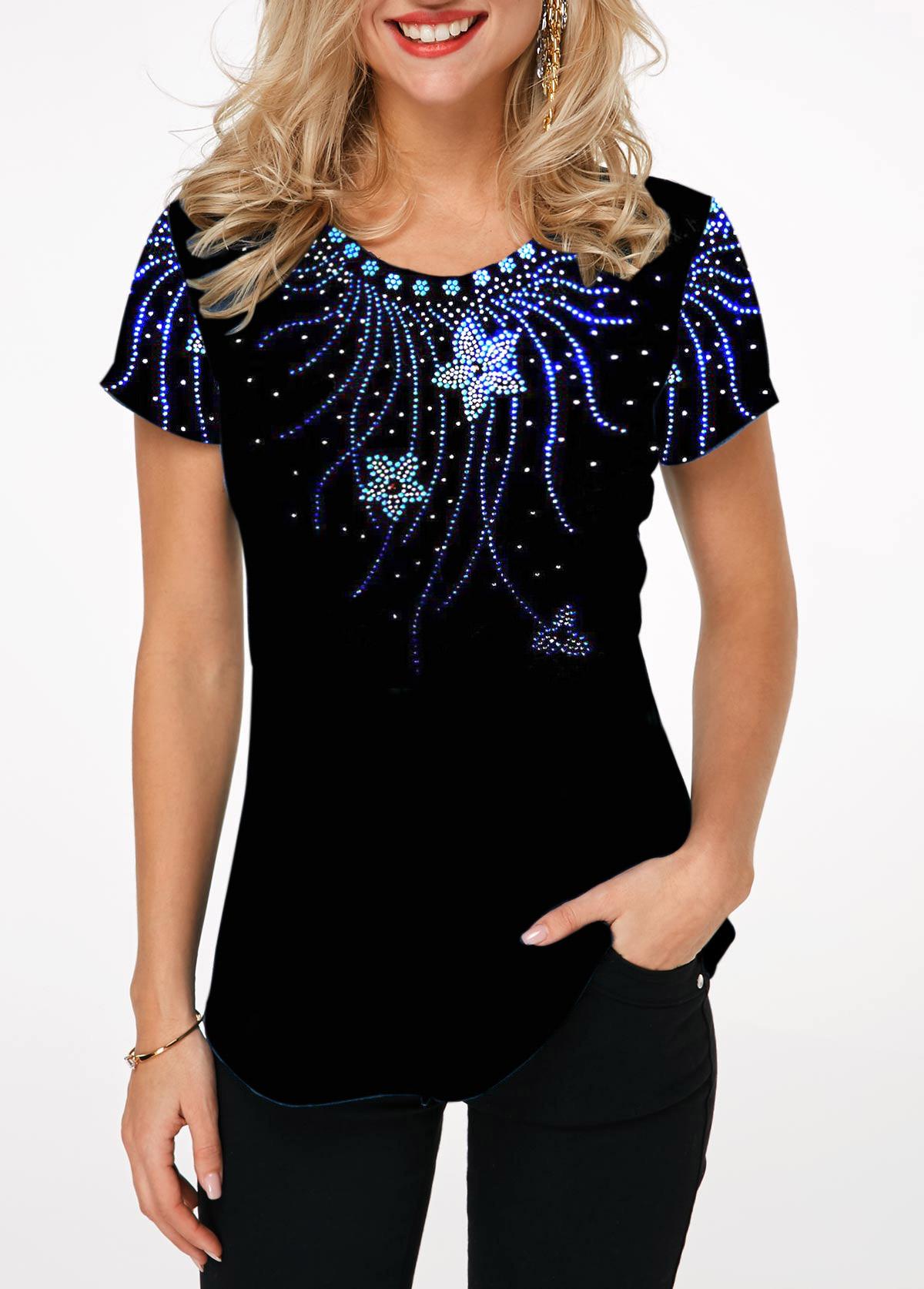 Printed Short Sleeve Round Neck T Shirt