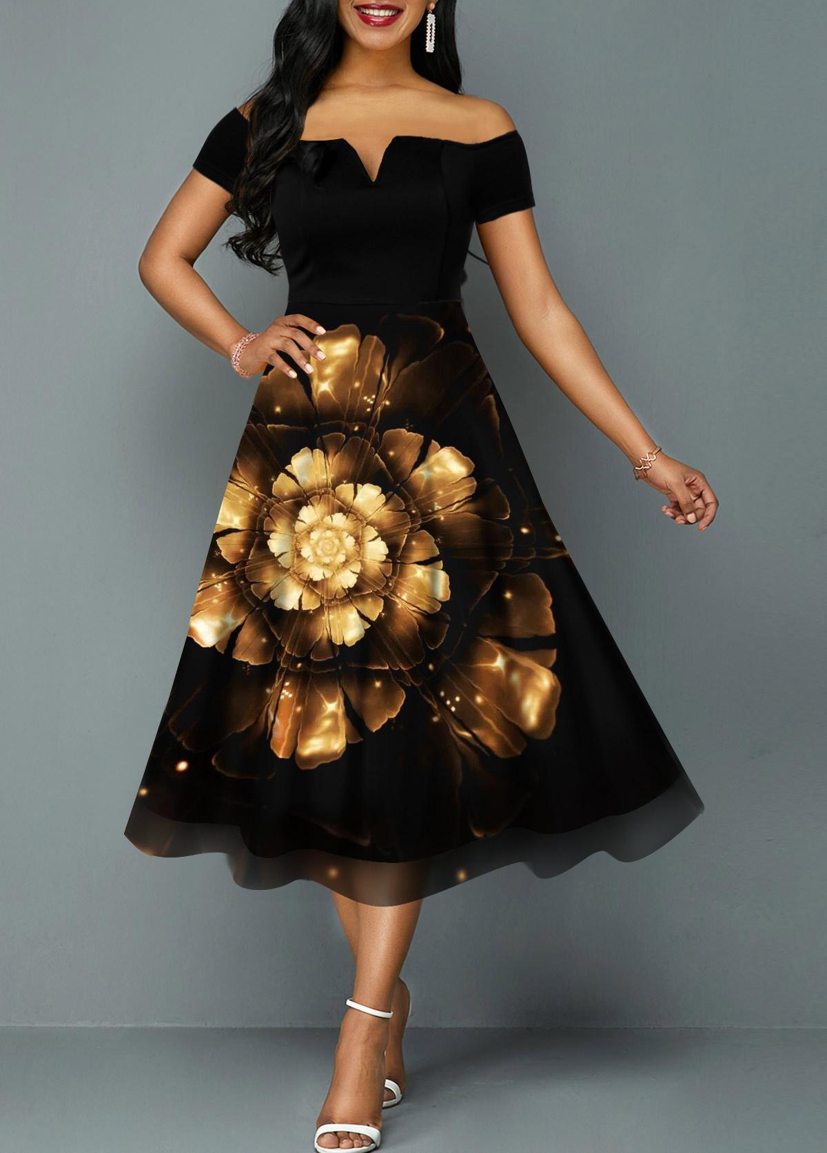 Off the Shoulder Printed Split Neck High Wasit Dress