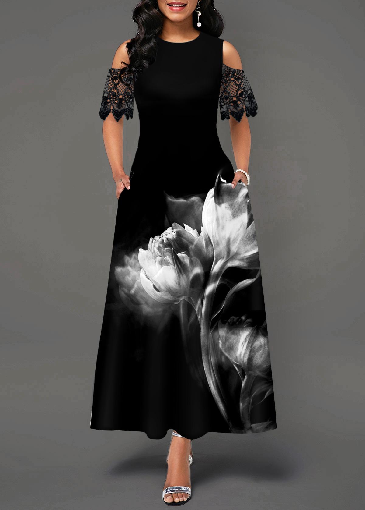 Lace Panel Flower Print Cold Shoulder Maxi Dress