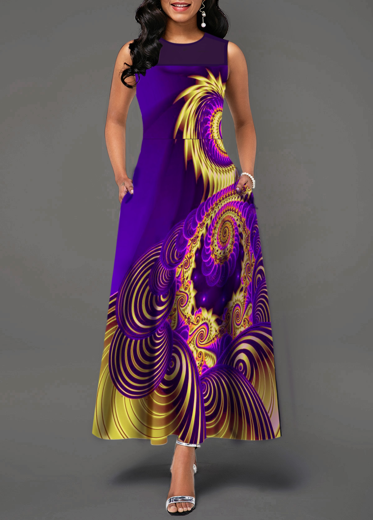 Mesh Patchwork Printed Sleeveless Maxi Dress
