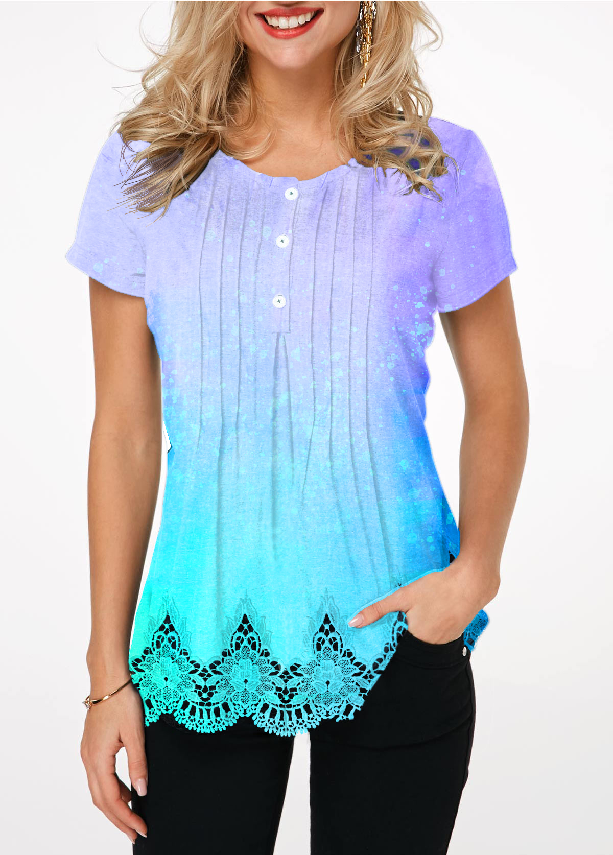 Crinkle Chest Lace Patchwork Button Front T Shirt