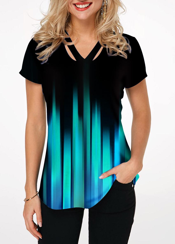 Cutout Neckline Short Sleeve Gradient T Shirt