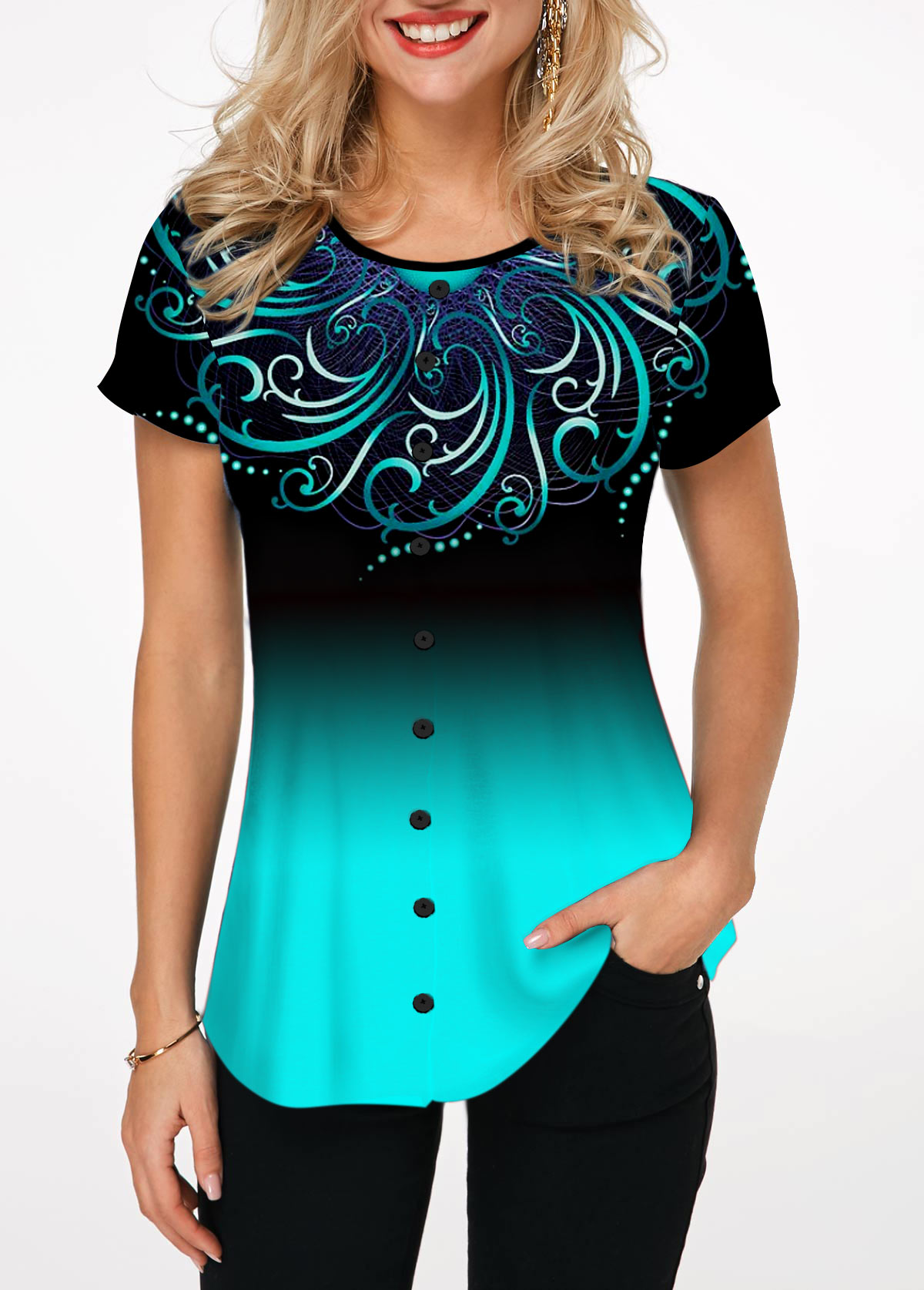 Printed Round Neck Button Embellished Blouse