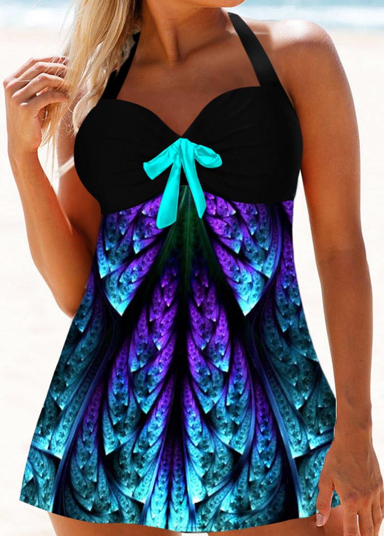 Printed Bowknot Halter Neck Embellished Swimdress and Panty