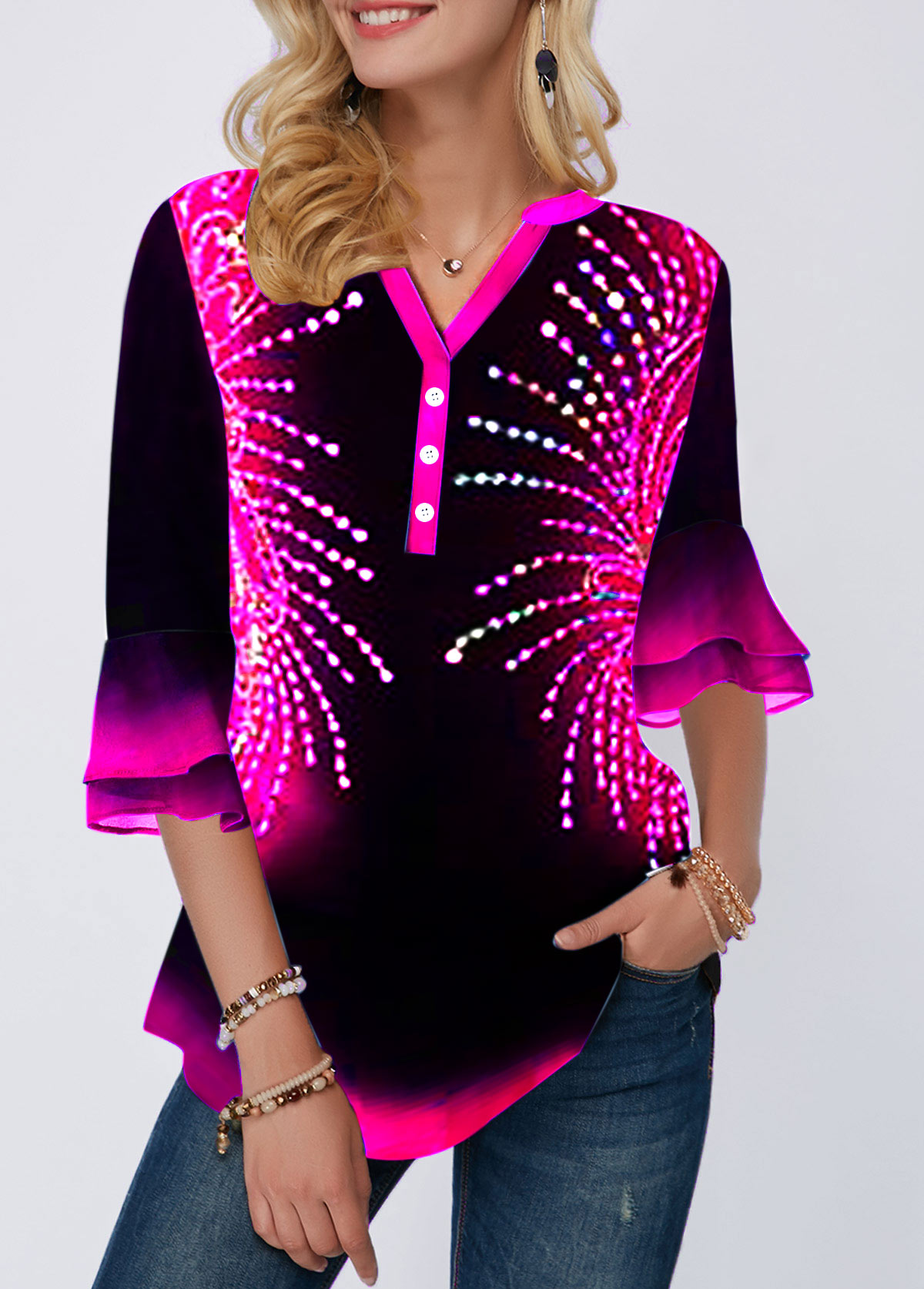Printed Split Neck Flare Cuff Button Detail Blouse