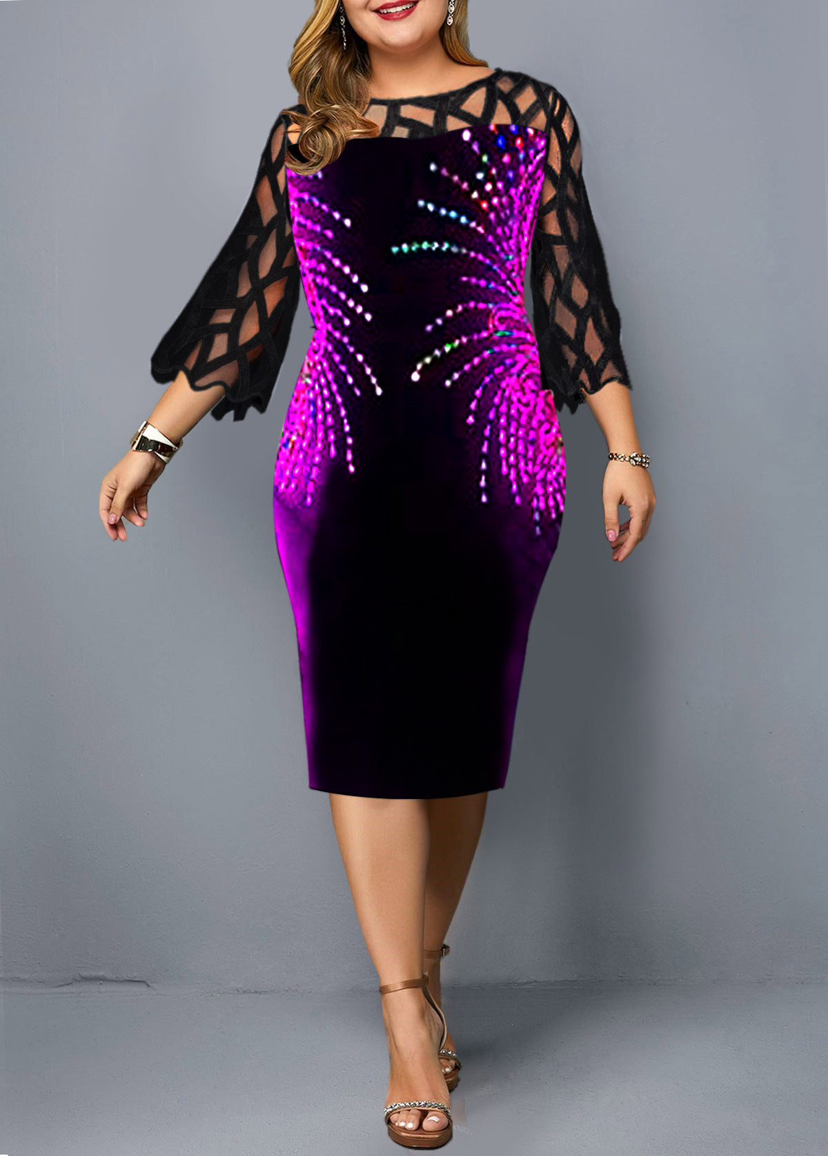 Plus Size Black Three Quarter Sleeve Printed Dress