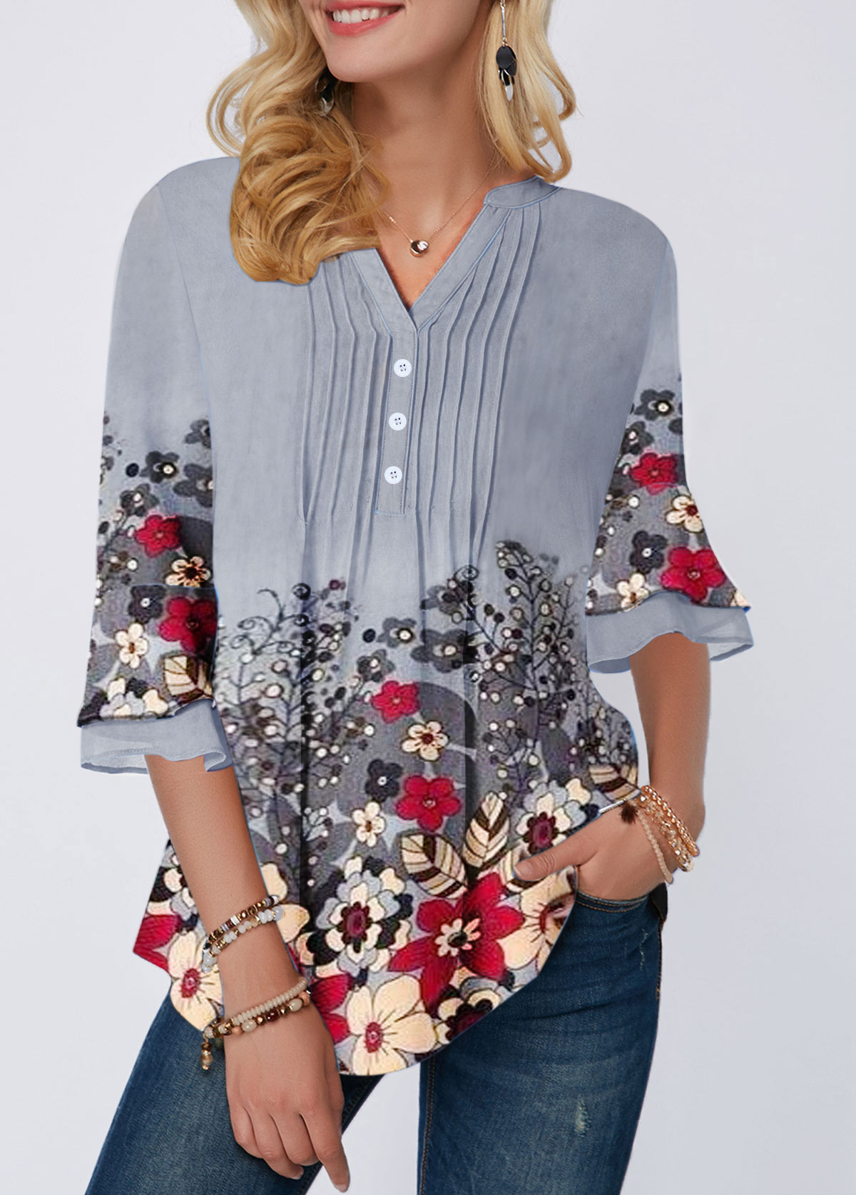 Button Front Flower Print Crinkle Chest Blouse