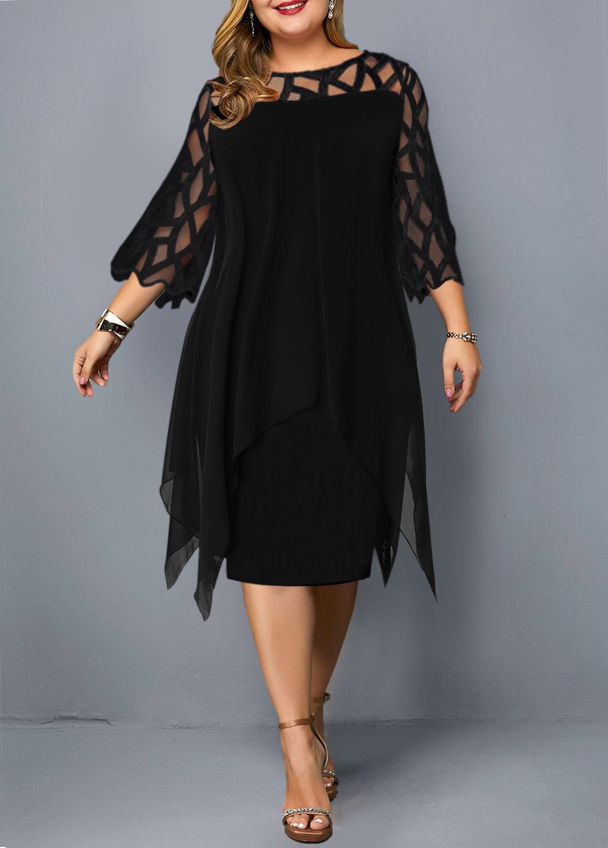 Round Neck Mesh Panel Plus Size Dress