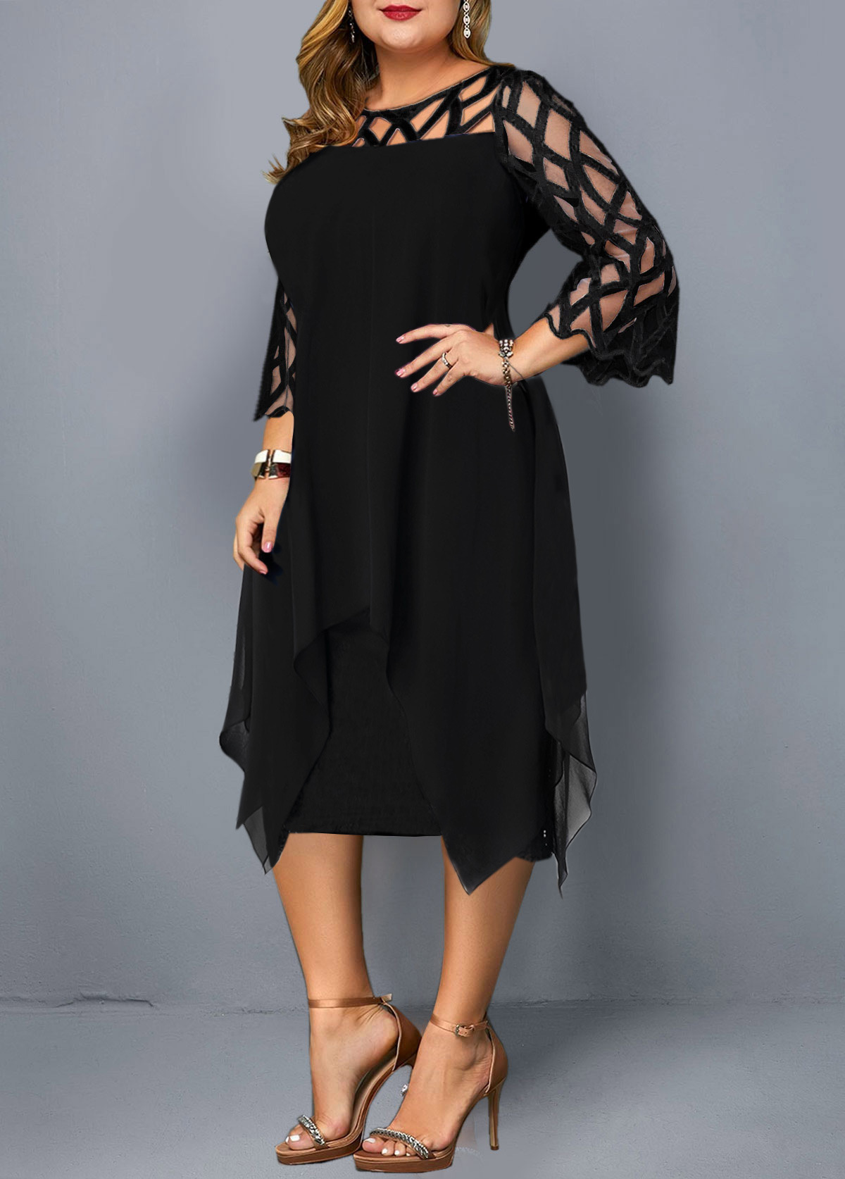 Round Neck Lace Panel Plus Size Dress