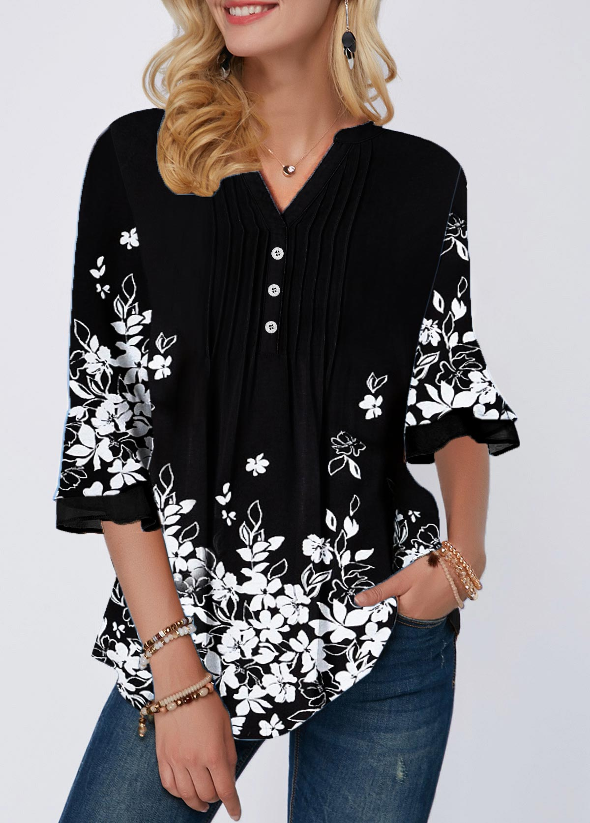 Split Neck Floral Print Crinkle Chest Blouse