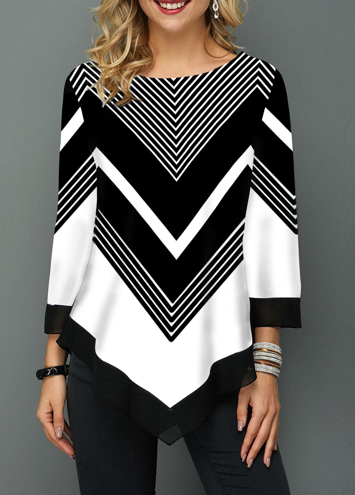 Three Quarter Sleeve Asymmetric Hem Chevron Print T Shirt