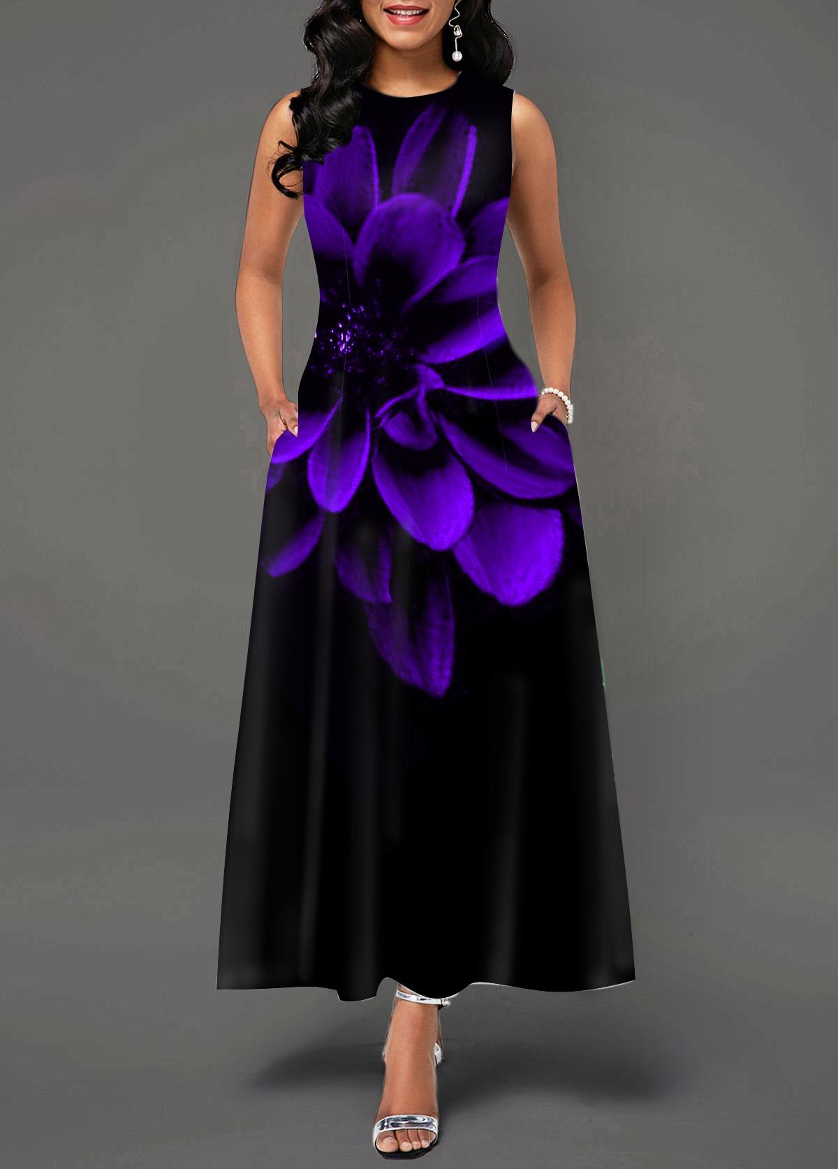 Sleeveless Flower Print Round Neck Maxi Dress