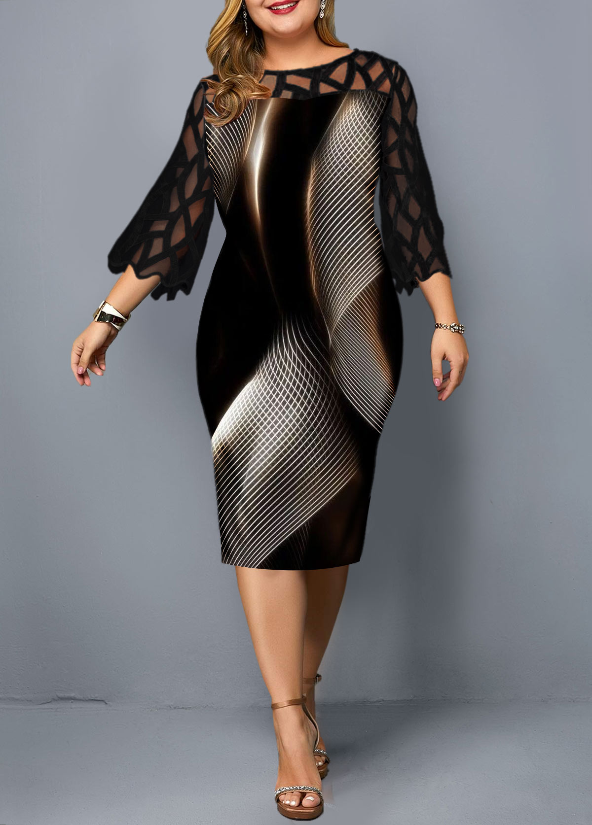 Lace Panel Geometric Print Plus Size Sheath Dress
