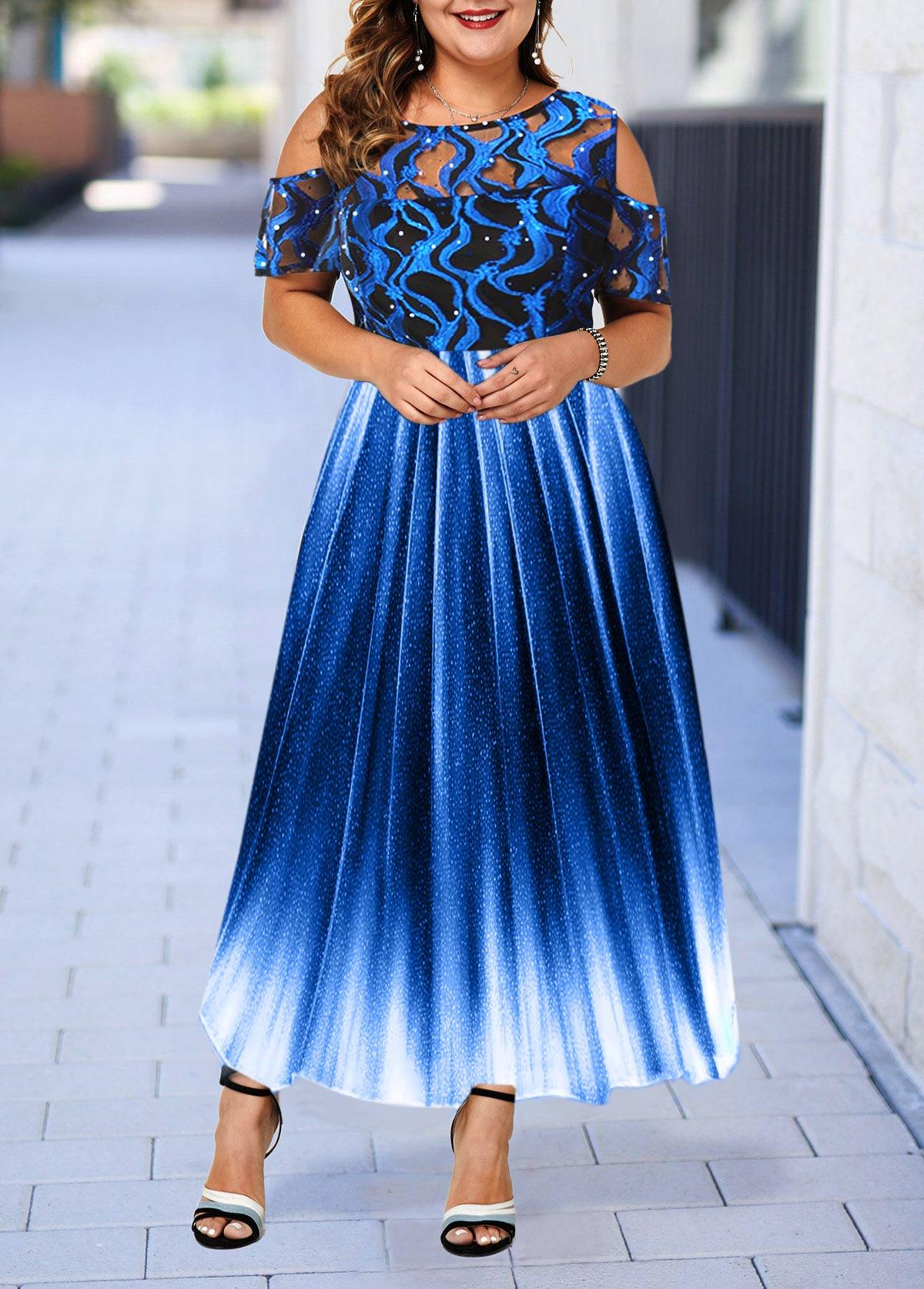 Plus Size Lace Panel Cold Shoulder High Waist Dress