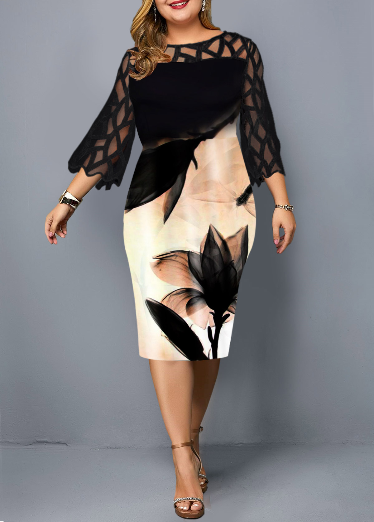 Plus Size Mesh Patchwork Black Printed Dress