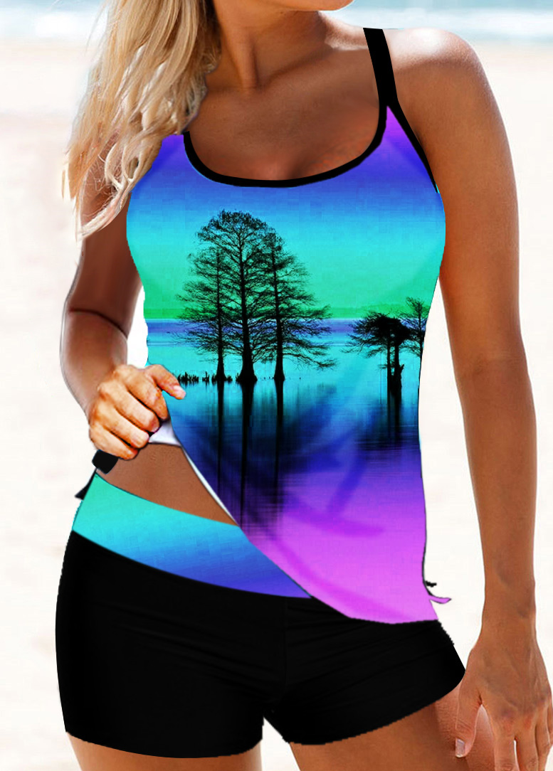 Scoop Neck Tree Print Strappy Back Tankini Set