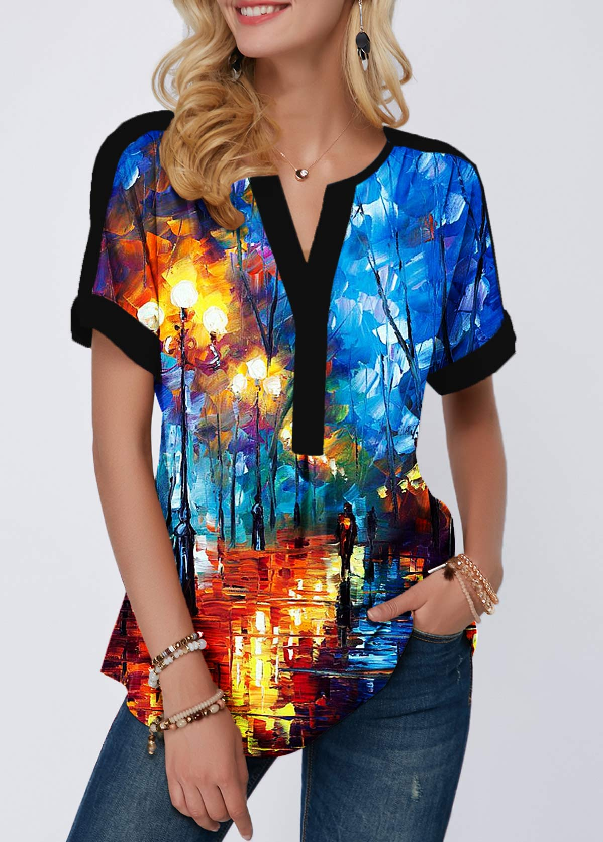 Contrast Piping Printed Split Neck Blouse