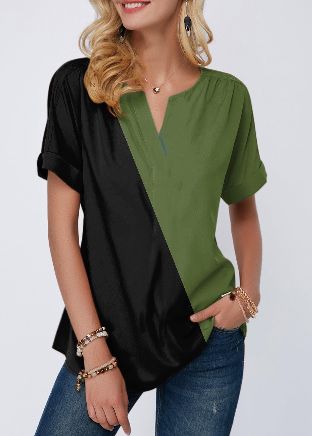Short Sleeve Notch Neck Color Block T Shirt