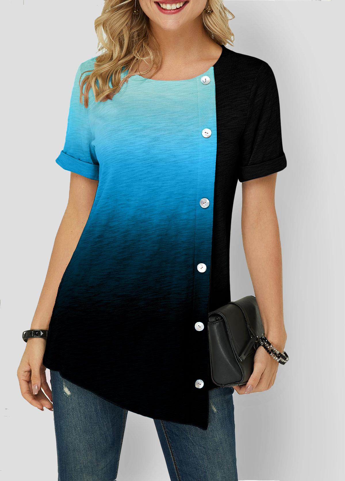 Button Detail Asymmetric Hem Blue Gradient T Shirt