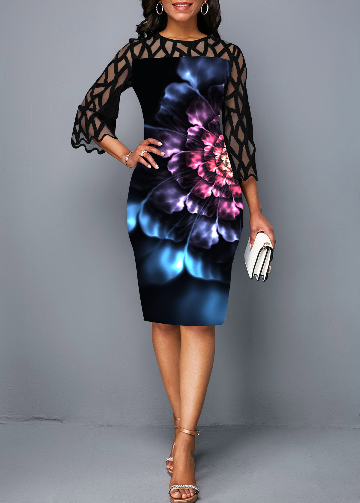 Flower Print Lace Panel Round Neck Sheath Dress